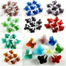 10/40pcs Butterfly Charms Glass Crystal Earring Pendants Findings 14mm Crafts