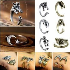 Retro Silver Cute Lovely Animal Elephant Head Midi Finger Opening Knuckle Ring
