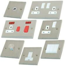 SATIN CHROME LIGHT SWITCHES AND PLUG SOCKETS WHITE INSERTS FULL RANGE