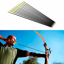 "12 Fibreglass Archery Arrows Field Hunting & Target Broadhead Tips 28"" 30"" 32"""
