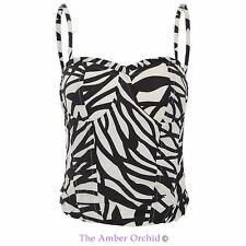 Womens Ladies Bralet Top Cami Animal Print Lace Back Strappy Party Bustier