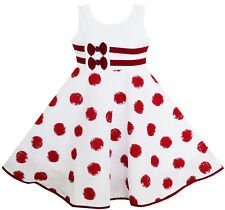 Girls Dress Wine Red Polka Dot Circle Print Double Bow Tie Size 4-12