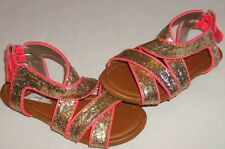 JUSTICE Girls size 1 or 7 NEON SPARKLING SANDALS EUC