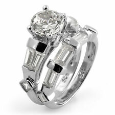 Round Baguette Cubic Ziconia Bridal Set Wedding Engagement Ring 925 Silver