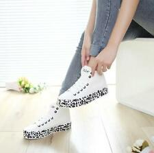 Fashion Womens Leopard Student Lace Up Thick Heel High Top Sneakers Canvas Shoes