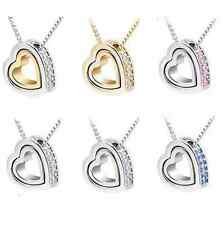 Womens Heart Fashion Crystal Charm Pendant Chain Necklace Silver Plated Jewelry