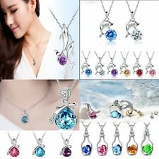 Women Heart Crystal Rhinestone Silver Chain Pendant Necklace Jewelry Love Gifts