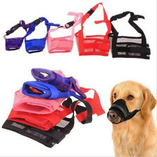 Pet Dog Muzzle Adjustable Mask Bark Bite Mesh Mouth Grooming Anti Stop Chewing