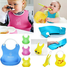 Baby Boy Girl Kids Infants Lunch Bibs Waterproof Silicone Cartoon Feeding Bibs