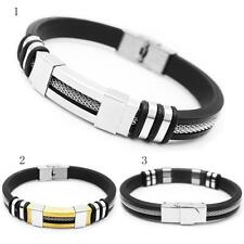 Men's Punk Silicone Stainless Steel Adjustable Wrap Bangle Bracelet Wristband