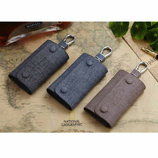Men Snap Fastener Genuine Leather Car Keys Bag Case Keychain Wallet Purse #B9