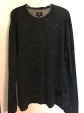 NWT Marc Ecko Mens Distressed Print Crew Shirt Sz XL, 2XL Black