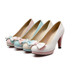 Women's Shoes Synthetic Leather Bow-knot Platform High Heels Pumps AU Size S307