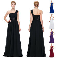Long Chiffon Bridesmaid Evening Formal Party Prom Dress Ball Gown One Shoulder