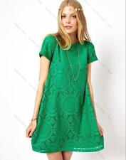 Fashion Summer Women Casual Loose  Dress Short Sleeve Hollow Lace Dress