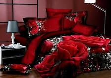 Hot Sell 3D Red Rose Bed Bedding Set Duvet Cover Pillowcases 4Pcs 100% Cotton