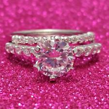 Sterling Silver wedding set CZ Round cut Engagement Ring size 5-9 Bridal New 925