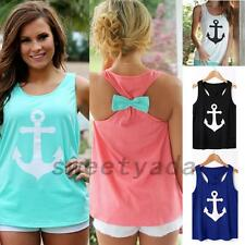 Nautical Sailor Captain Women's Tank Top Vest T-shirt Tee Anchor Bow Racerback