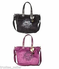JUICY COUTURE Royal Highness Logo Large School Tote Bag Purse + Gold Bow Charm