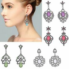 Boho Ethnic Retro Silver Crystal Dangle Dop Piercing Earrings Women Lady Jewelry