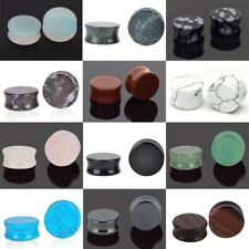 Semi Precious Stone Ear Plug Organic Flesh Tunnel Expander Stretcher Saddle Plug