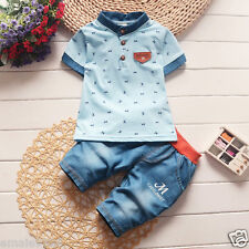 2pcs Toddler Kids Baby Boys Outfits T-shirt+ Denim shorts Casual Clothes Set