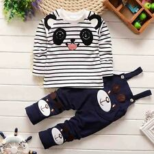2pcs Toddler Kids Baby Boys Girls T-shirt Tops + Braces Pants Clothes Set Outfit