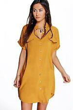 Boohoo Womens Maeve Pocket Detail Sleeveless Shirt Dress