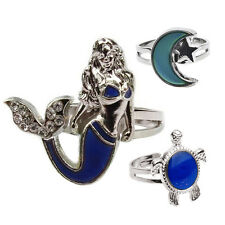 Mood Ring Changing Color Turtle Moon Mermaid Shape Size Adjustable Temperature