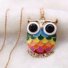 Beautiful Alloy Gold Plated Colorful Owl Pendant Long Chain Necklace Friend Gift