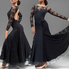2016 Maxi Women's Modern Dance Lace Dress Waltz Tango Quickstep Ballroom Dress