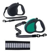 High Quality Retractable Reflective Dog Leads - Black or Green 3 Different Sizes