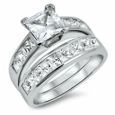 Sterling Silver wedding set CZ Princess cut Engagement Ring size 5-10 Bridal New