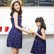 Fashion Summer Mother Daughter Matching Dresses Women Kids Girl Short Mini Dress