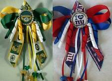 Football Green Bay Packers or New York Giants Hairbow Bow w/Beads Ponytail Top