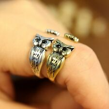 Cute Retro Silver/Bronze 17MM Owl Head Animal Knuckle Rings Women's Ring Jewelry