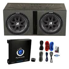 """2) Kicker 43C124 600W 12"""" Subwoofers + Vented Lined Box Enclosure + Amp + Wire"""