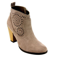 QUPID FC36 Women Laser Cut Out Cowboy Stacked Chunky Heel Ankle Booties