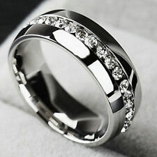 Size 7-11 Men/Women's Stainless Steel Ring Band Rhinestone Plated Couple Jewelry