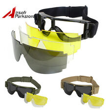 3 Lens Paintball Airsoft Goggles Safety Glasses Military SWAT Hunting Protection