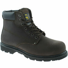 MENS GRAFTERS LEATHER SAFETY WORK BOOTS SIZE UK 13 - 15 STEEL TOE BROWN M124B KD