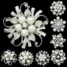 Beauty Vintage Pearl Rhinestone Crystal Flower Wedding Bridal Bouquet Brooch Pin