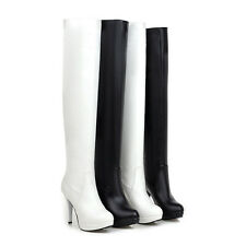 Women's Shoes Synthetic Leather Platform High Heels Over Knee Boots AU Size b415