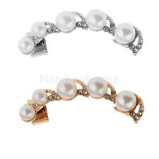 Fashion Prom Faux Pearl Long Ear Clip Charm Rhinestone Stud Earring Jewelry Gift