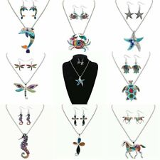 Women Animal Horse Elephant Dragonfly Turtle Pendant Necklace Earrings Sets NEW