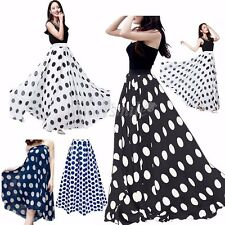 Boho Women's CHIFFON Double Layer Skirt Polka Dot Pleated Long Maxi Beach Dress