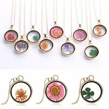 Women Natural Dried Flower Resin Round Glass Floating Locket Pendant Necklace