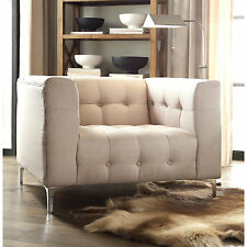 Iconic Home Capone Biscuit Tufted Silvertone Metal and Linen Y-leg Club Chair
