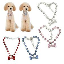 Bling Rhinestone Pet Cat Puppy Necklace Collar Dog Jewelry with Bone Pendant