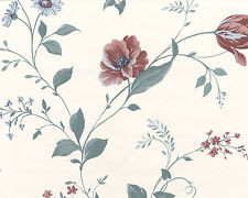 Gorgeous Detailed Tulips Roses Daisies Red Blue Double Roll Wallpaper Wall Cover